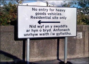 """Skylt i Wales med """"Out of office"""""""