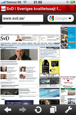 Svenska Dagbladet i Opera Mini för Iphone