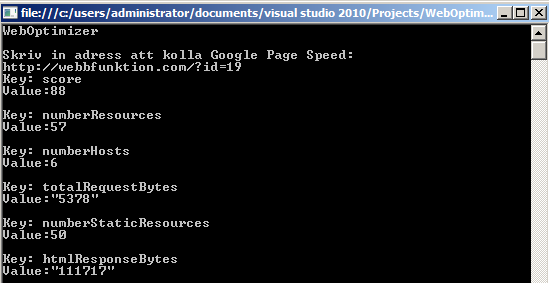 Google Page Speed Online API som console-app