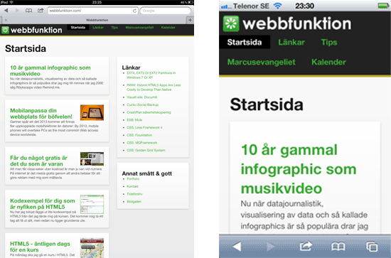 Responsive version av Webbfunktion.com