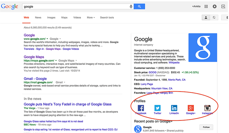Profiler i sociala medier nu tillsammans med Knowledge Graph hos Google