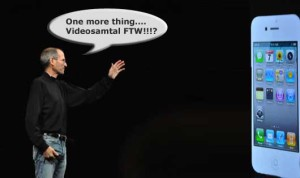 Steve Jobs kör sin keynote och presenterar...wait for it...videosamtal