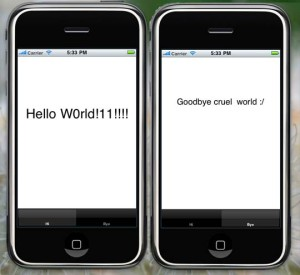 Min Iphone-app som säger hello world