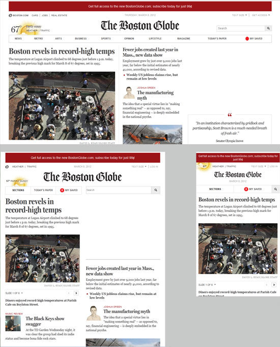 The Boston Globe, tidning som bygger på responsive design