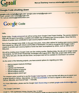 Google Code shutdown message