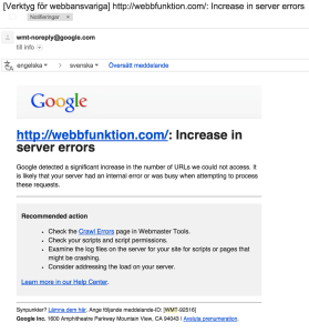 Increase in server errors, varning från Google Webmaster Tools