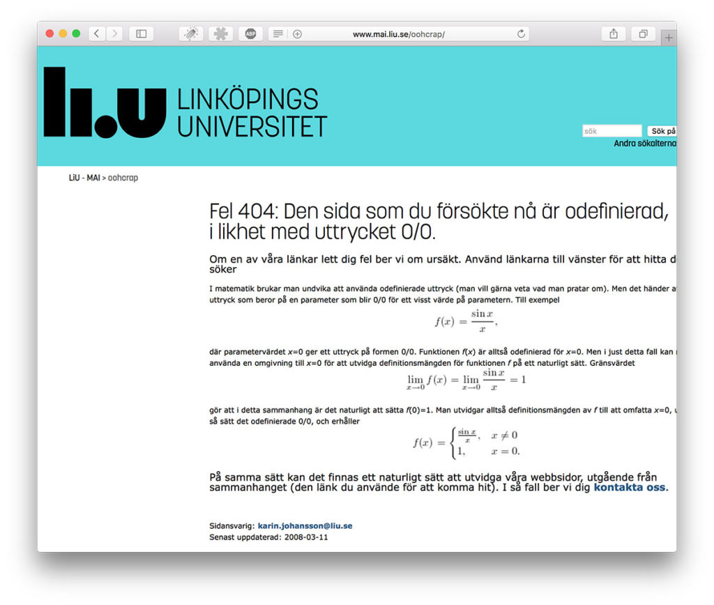 404 hos Linköpings Universitet