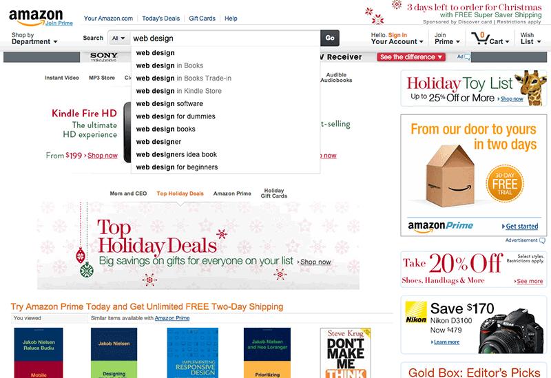 Bild 2: Hjälpsamma sökordsförslag på Amazon.com