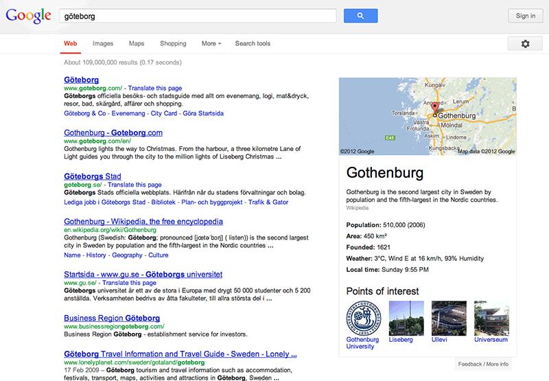 Bild 3: Google kompletterar sitt sökresultat med verifierade fakta i högerkolumnen.