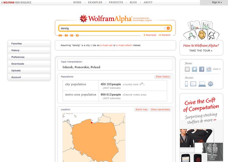 "Bild 4: WolframAlpha ger fakta om sökordet ""danzig""."
