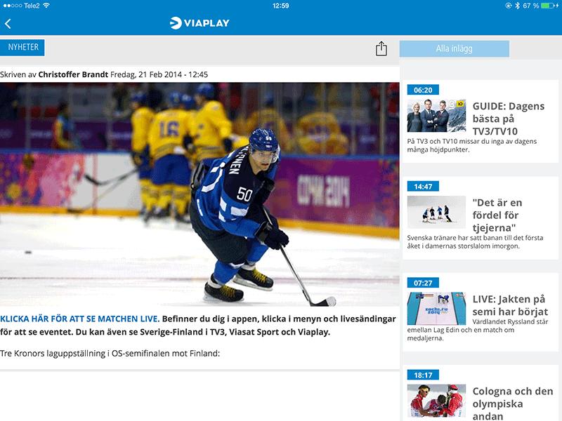 """Bild 5: Webblänken """"Klicka här..."""" fungerar inte i iPad-appen där man återvunnit innehåll från sin webbplats."""