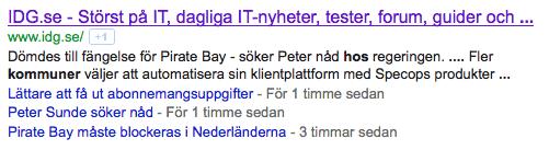 Bild 18: De senaste nyheterna är listade under huvudträffen på sökmotorn.