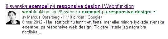 Bild 21: Google har lyckats verifiera författaren av en bloggpost.
