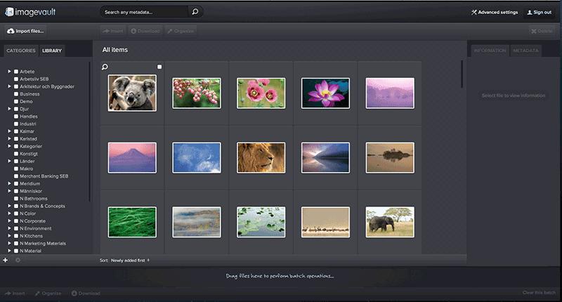 Bild 27: Bildbanken Imagevault är ett svenskt alternativ för den som söker en bildbanksprodukt till sitt publiceringssystem.
