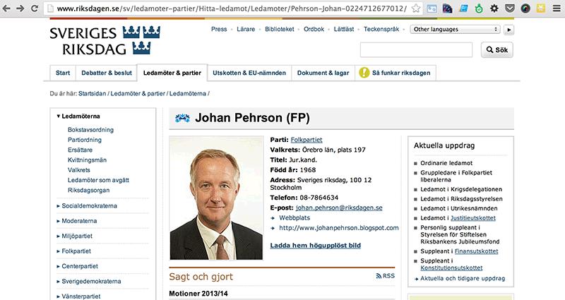 Bild 34: Profilsida för en riksdagsledamot.