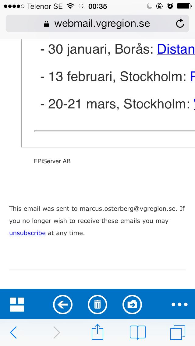 Bild 37: I Outlook Web Access kan man med iPhone inte backa i webbläsaren, däremot fungerar knappen Microsoft lagt in (med blå bakgrund).