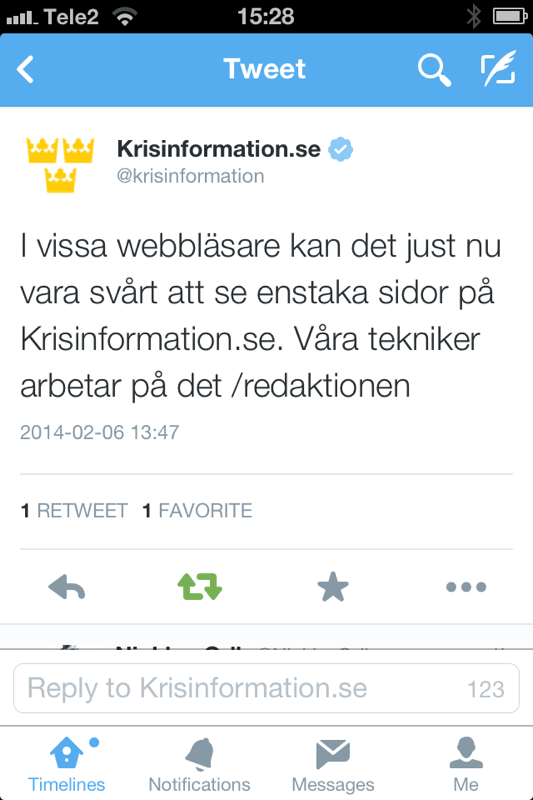 Bild 38: Missöde i Sveriges krisinformation där man inte lyckades ge information till vissa vanliga webbläsare.