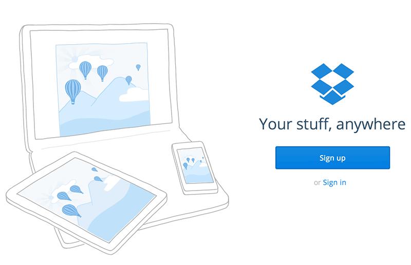 """Bild 41: Att logga in på Dropbox är lägre prioriterat än att hjälpa nya kunder skaffa konto. Visserligen är befintliga kunder återkommande och är nog mer motiverade att hitta """"sin"""" knapp."""