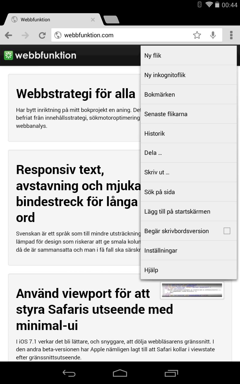 Bild 52: I Android kan man begära att få skrivbordsversionen av en webbplats. Användbart om man inte gillar webbplatsen i den utgåva man fått den.