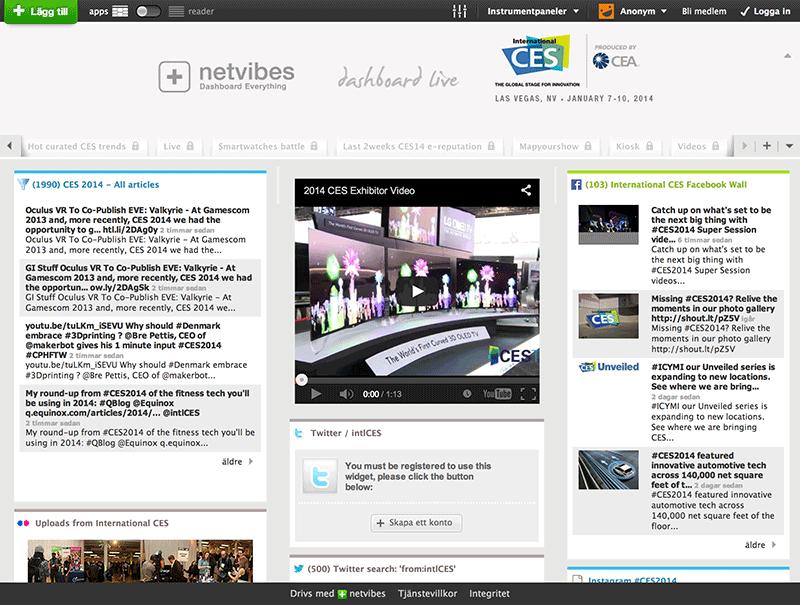 Bild 70: Webbtjänsten Netvibes var tidigt ute med SPA- funktionalitet som dashboards och sammanställning av datakällor.