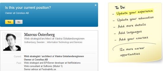 Bild 75: Linkedin listar tydligt i en anteckningslapp vad jag ska göra för att få mer nytta av tjänsten (2012).