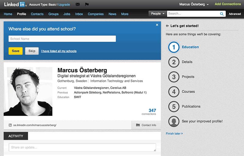 Bild 76: Linkedin med nytt försök att motivera användarna att lämna ifrån sig mycket persondata (2013).
