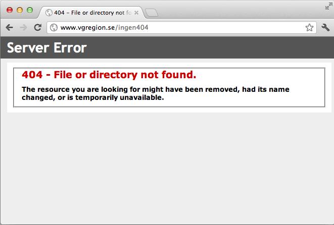 Bild 79: En felkonfigurerad webbserver kan råka lämna så här oanvändbara 404-sidor.
