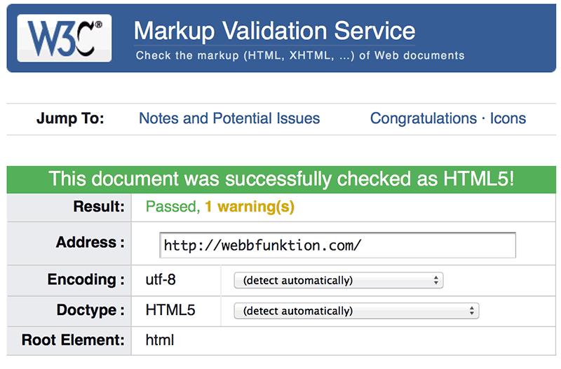 Bild 96: W3C erbjuder en utmärkt valideringskontroll.